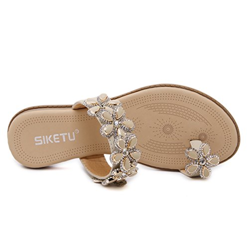 Comfy Bohemian Slip Fashion Flexible 10 Slide Toe Casual Resistant Backless Concise Beige Abby Rhinestones A929 Lightweight Glittering Womens Shoes Breathable Ring Flowers Slippers Flat WqaIPXtAXn