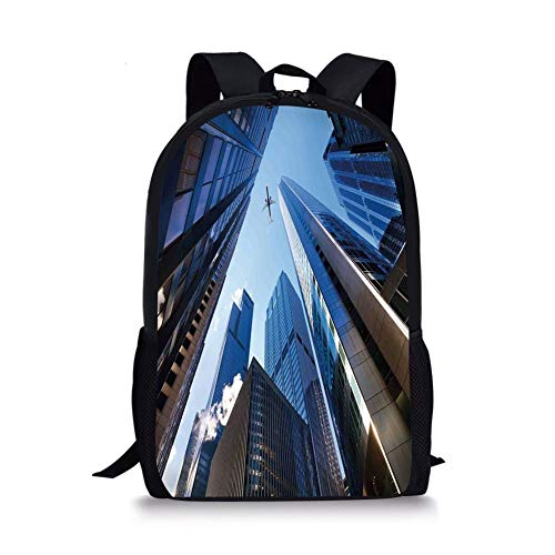 School Bags Urban,Looking Up at Chicagos Skyscrapers in Financial District American City Picture,Blue Silver for Boys&Girls Mens Sport -