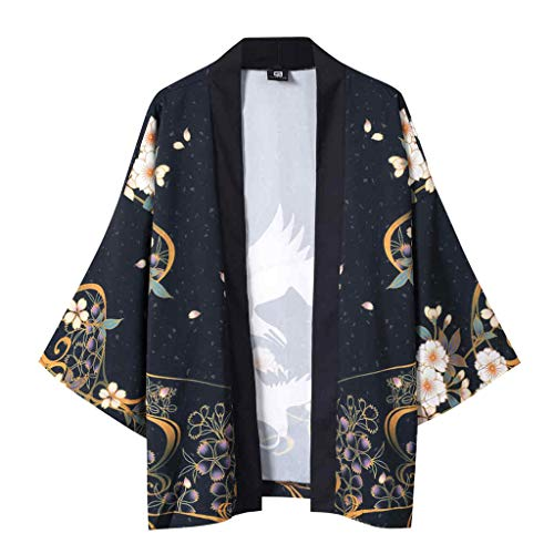 Spring Color  Floral Print Half Sleeve Kimono Cardigan Loose Cover Up Casual Blouse Tops Kimono for Womens & Men Black -