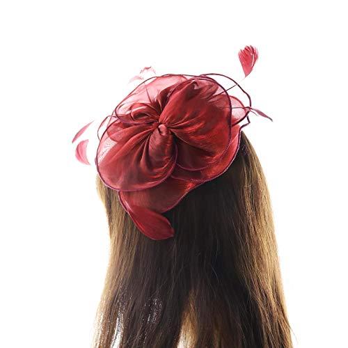 Nera Da Donna Cappello Con//Rosso E Nero Fiore Hat venditore UK 39004-3