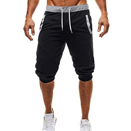 XWBJP メンズ ショートパンツ カジュアル スポーツ スリム フィットネスジョギング 七分丈 無地 速乾性 通気性 大きいサイズ 人気