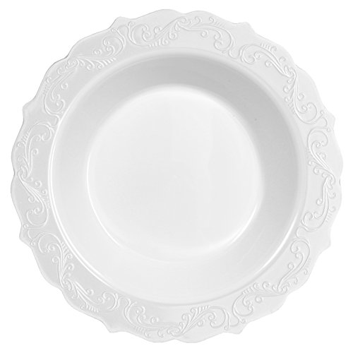 (Posh Setting Elegant Collection 40 Pack China Look 7.5 inch 12 oz White Plastic Soup Bowls, Fancy Disposable Dinnerware)