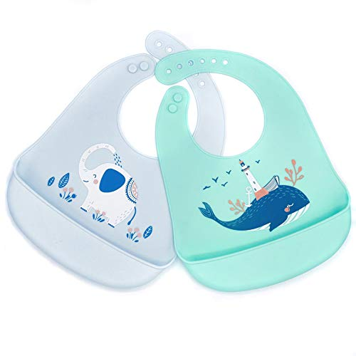 Silicon Baby Bibs for Baby Girl and Baby Boy Set of 2- Super Soft- Waterproof Bibs for Babies and Toddlers with Adjustable Fit- Non Messy Design Baby Feeding Bibs with Food Catcher- BPA Free