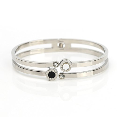 Stylish Dual Strand Designer Bangle Bracelet in Silver (White Gold) Tone with Contemporary Circular Design, Faux Onyx & Mother of Pearl Inlay, Roman Numerals and Swarovski Style Crystals (160107) - Mother Of Pearl Circular Earring