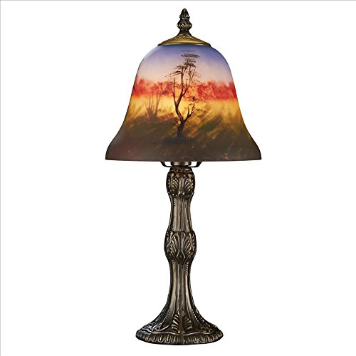 Hand Painted Glass Lamp Shades (Design Toscano TF7015 Art Nouveau Forest Scene At Sunset Reverse Hand-Painted Glass Lamp)
