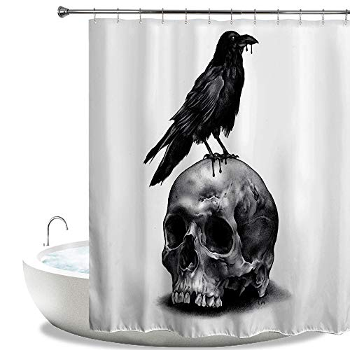 HIYOO Bathroom Decorative Polyester Fabric Waterproof Bath Shower Curtain, Halloween Bloody Horror Scary Skull Theme Design, High-definition Image, With Hooks 60