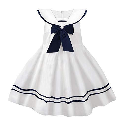 (YJ.GWL Girls Nautical Sailor Dresses with Bow-Tie White Casual Sleeveless)