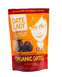 Premium ORGANIC California Dates - Date Lady 8oz Bag - NON-GMO, VEGAN, GLUTEN-FREE & KOSHER | A Perfect Whole Food snack or use in Baking & Cooking!