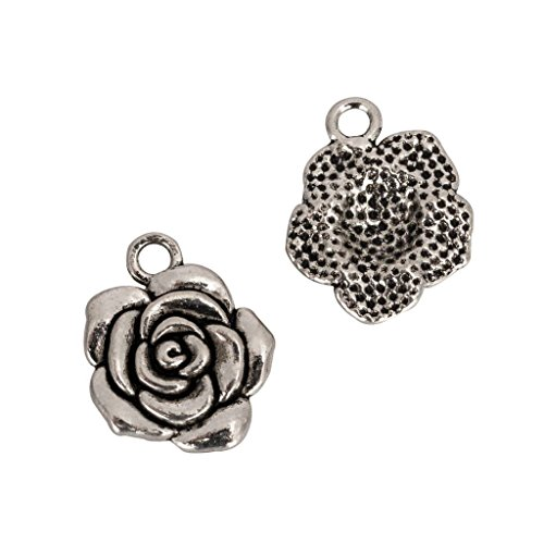 20pcs x Rose Flower Charms 17x15mm Antique Silver Tone #mcz1067