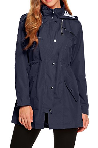 - ZHENWEI Womens Lightweight Hooded Waterproof Active Outdoor Rain Jacket S-XXL (XS, Navy Blue)