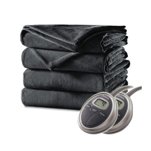 Sunbeam Velvet Plush Electric Heated Blanket King Size Slate