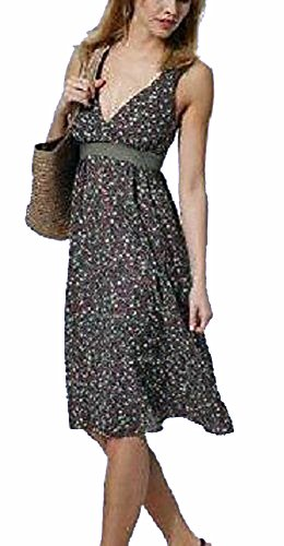 Empire Kleid khaki Blumen mit Smokeinsatz 517256 geyWUW0o