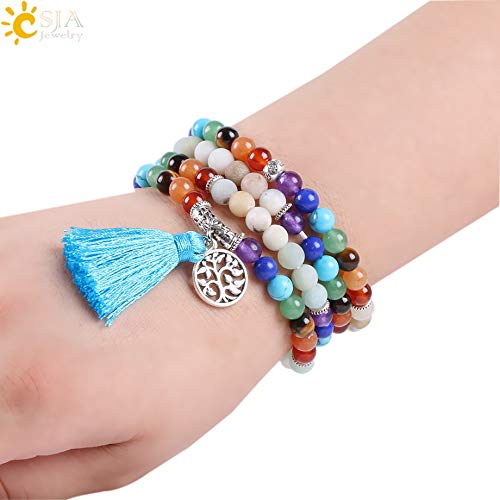 (Zozu CSJA 7 Chakra Natural Amazon Stone Bracelets 6mm Tibetan 108 Prayer Mala Bead Meditation Reiki Healing Yoga Balance Jewelry E661)