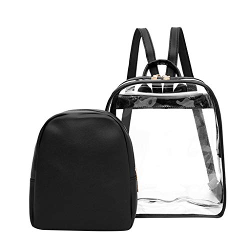 Clear Baby Pink Zebra - 2pcs Clear Backpack with Cosmetic Bag,AopnHQ Clear Transparent School Outdoor Bookbag Portable Travel Bag