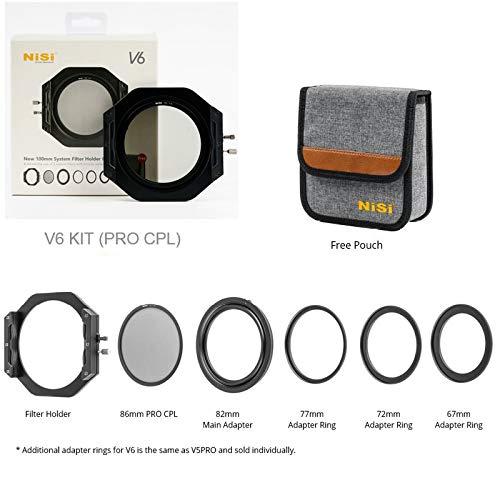 NiSi V6 - Soporte para filtros de 100 mm con soporte estandar de 86 mm PRO CPL, con anillos adaptadores, bolsa de almacenamiento V6