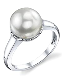 10mm White Freshwater Cultured Pearl Laurel Ring
