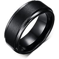 8MM Black High Polish / Matte Finish Men's Tungsten Ring Wedding Band 7-12 (10)