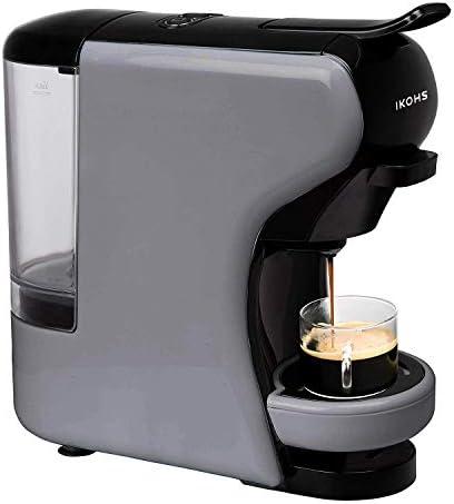 IKOHS Macchina per caffè Espresso Italiano – caffettiera Multi Capsule Nespresso 3 in 1, Macchina per Caffè Espresso, 0,7 litri, 19 bar, 1450 W (Grigio)