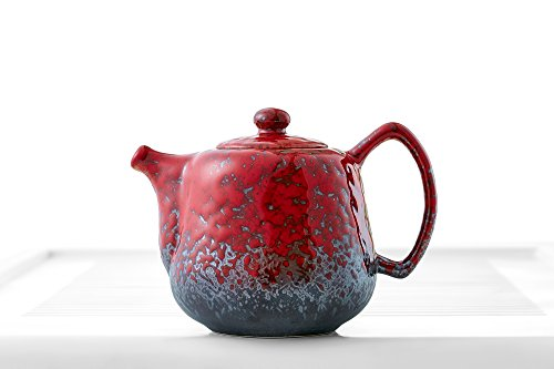 Porcelain Teapot with Lid Large Handle Pot Mottled Glaze Chinese Teaware Pottery (red, grey)