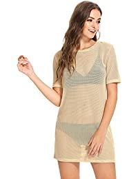 Women's Short Sleeve See Through Sheer Mesh T Shirt Dress