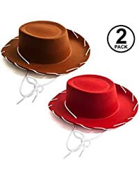 Kids Cowboy Hat - Brown & Red Cowboy Hats – Children's Cowboy Costume - Western Hats – 2 Pack