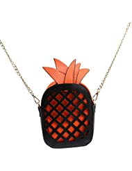 TraveT Woman Fruit Bag Cute Pineapple Bag PU Leather Shoulder Bag Chain Clutch Bag Messenger Bag