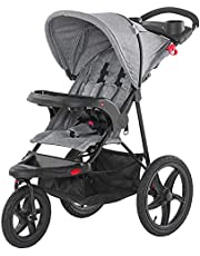 Qaba Baby Stroller Foldable Carriage for Toddler with Adjustable Backrest and Canopy Suspension System Rubber Tire 5-Point Harness Cup Holder Storage Basket Grey
