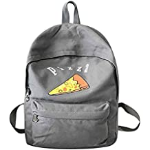 Chilie Women Cartoon PIZZA Backpack Large Capacity Canvas Students School Bag Female Daily Travel Rucksack