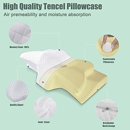 Neck Pillow for Pain Relief Sleeping, Ansontop Cervical Memory Foam Pillow Orthopedic Ergonomic for Shoulder Pain Relief Snoring with Washable Cover Pillow for Side, Back, Stomach Sleeper (White)