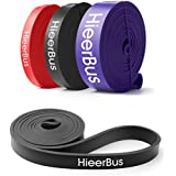 HieerBus Pull Up Assistance Bands- Stretch Exercise Resistance Band-Mobility & Powerlifting Bands,Elastic Workout Rope for Body Stretching, Yoga, Pilates, Muscle Strength Training Fitness (Black)