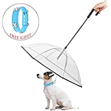 "ABZON Transparent Pet Dog Umbrella With Leash.Extra Long Handle & Extra Strong Leash & Pre-Assembled.Perfect Gift for Dogs and Pet Lover.(Fits 20"" Pet's Back Length)"