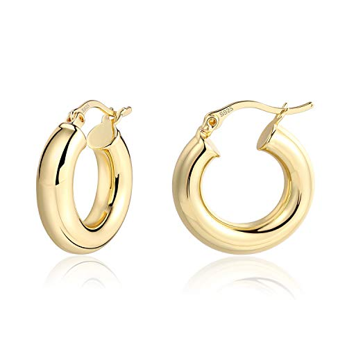 Lightweight Chunky Hoops | 14K Gold Plated Small Thick Sterling Silver Post Hoop Earrings for Women