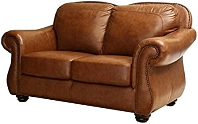Pemberly Row Leather Loveseat in Camel Brown
