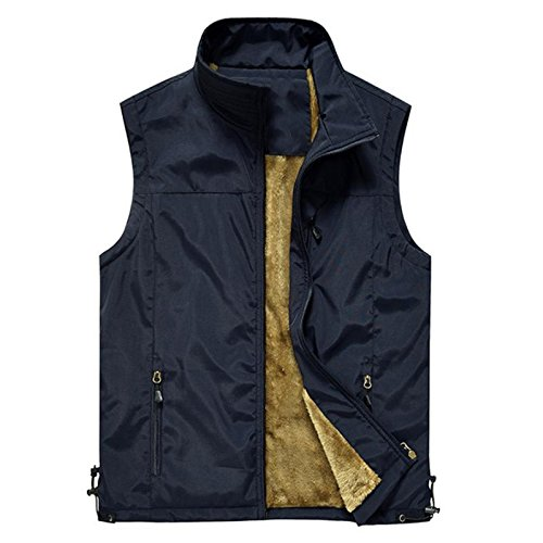 YANXH Men Plus Kaschmir Gilet Outdoor Wasserdichte Middle Aged Warm Weste