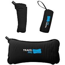 Travel Pal Self Inflating Adjustable Lumbar Pillow Back Rest Support Black