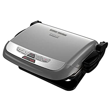 George Foreman GRP4842P 3-in-1 Multi-Plate Evolve Grill, Electric Grill, (Panini Press, Grilling, and Waffle Plates Included), Platinum