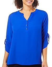 Womens Solid Ruched Sleeve Top
