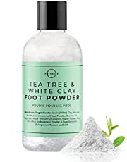 O Naturals Tea Tree & Kaolin Clay Foot Powder. For Men & Women. Peppermint Aloe Vera Travel Size Body Nails Powder No Talc. 104g