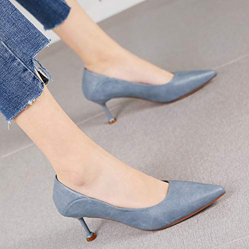 HRCxue Pumps Mode wies einfache Stiletto Heels Mund vielseitige flachen Mund Heels blau dünne einzelne Schuhe weiblich, 39, blau 4c3838