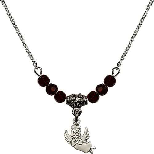 Bonyak Jewelry 18 Inch Rhodium Plated Necklace w// 4mm Red July Birth Month Stone Beads and Saint Aidan of Lindesfarne Charm