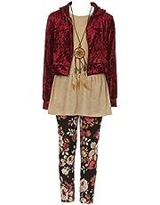 Big Girls Burgundy 4 Pieces Pant Set Long Sleeve Jacket Necklace Floral Plaid Pant #2099 Size 12
