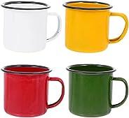 FRCOLOR 4pcs Enamel Camping Mugs Set Vintage Coffee Cups Small Enamel Metal Tea Cups Camp Soup Milk Drinking C