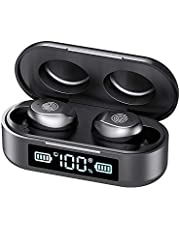 True Wireless Earbuds, Bluetooth 5.0 in-Ear Headphones with Charging Box, IPX7 Waterproof Stereo Headphones in-Ear Earphones, Headset Built in Mic, Premium Sound with Deep Bass, Sport/Work…