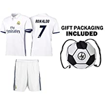 JerzeHero Real Madrid Ronaldo #7 Soccer Gift Set ✓ Youth or Adult Sizes ✓ Soccer Jersey ✓ Shorts ✓ Ball Drawstring Bag ✓ Home or Away