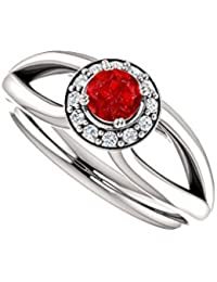 Ruby and CZ Open Leaf Design Split Shank Halo Ring