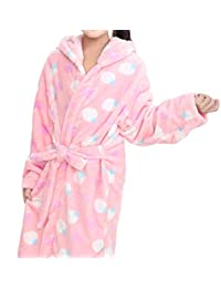 AGOWOO Little Big Kids Girls Flannel Hooded Bath Robe Pajama