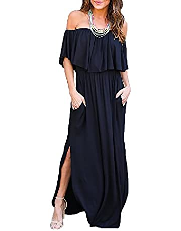 255adb08a8fa Womens Off The Shoulder Ruffle Party Dresses Side Split Beach Maxi Dress