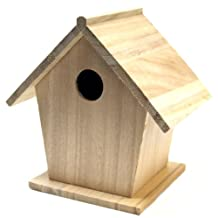 Plaid Wood Surface Birdhouse for Crafting (7 by 7-Inch), 97874