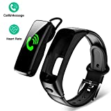 DEMAI Fitness Tracker IP68 Water-Resistant Smart Sports Bracelet with Bluetooth Headset-Heart Rate Monitor Sleep Step Counter Intelligent Activity Tracker Pedometer Watch for Kids Women and Men