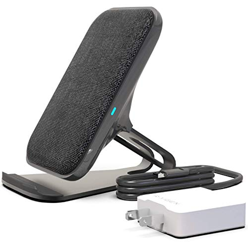RAIGEN Wireless Charging Stand + Fast Charge AC Adapter Modern Fabric Canvas Design 7.5W for iPhone Xs MAX XR X 8 Plus, 10W for Samsung Galaxy S10 S9 S8 S7 Note 9/8 (Charcoal)